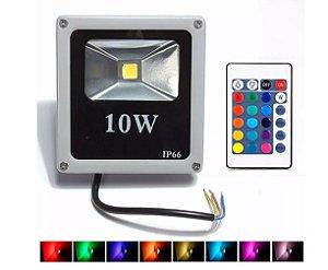 Refletor Holofote LED 10w RGB  Colorido -  com Controle Remoto