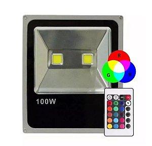 Refletor Holofote LED 100w RGB  Colorido -  com Controle Remoto