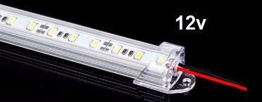 Barra de LED - 1 Metro - 18w - Branco Frio - 12v - 72 LEDs - Calha com Lente Transparente