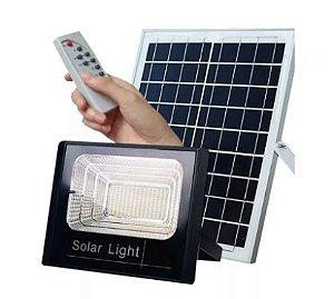 Refletor LED Solar 40W Branco Frio + Placa Solar + Controle Remoto
