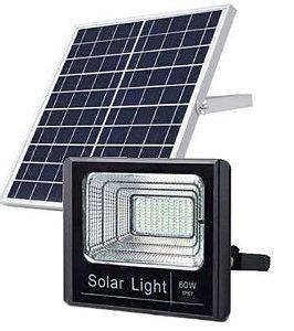 Refletor LED Solar 60W Branco Frio + Placa Solar + Controle Remoto