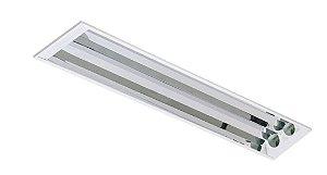 Luminária Embutir de Alto Rendimento 120cm para 2 Tubulares led 18w - Sem Lâmpadas