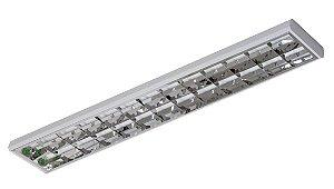 Luminária Aletada Sobrepor de Alto Rendimento 120cm para 2 Tubulares led 18w - Sem Lâmpadas
