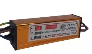 Driver Reator - 50w - 1000mA - Para Reparo de Refletor LED - Bivolt