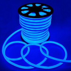 Mangueira Fita LED Neon Flexível Luz Azul - 12w por metro - 220v -  IP65 - Rolo com 100 Metros