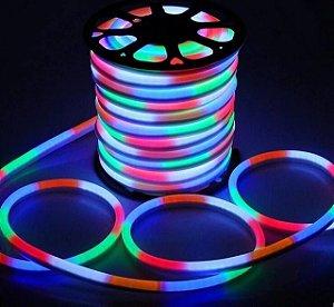 Mangueira Fita LED Neon Flexível Luz RGB - 12w por metro - 220v -  IP65 - Rolo com 50 Metros