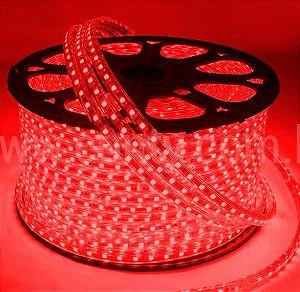 Mangueira LED Chata Rolo com 100m Vermelho 220v  - À prova d'água