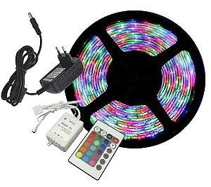 Fita LED - 5050 RGB (Colorida) - Rolo com 5 Metros - 6w  - 60 LEDs por Metro - IP65 (com Silicone) - 12V - com Controle Remoto e Fonte