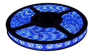 Fita LED - 3528 Azul - Rolo com 5 Metros - 4,8w  - 60 LEDs por Metro - IP65 (com Silicone) - 12V