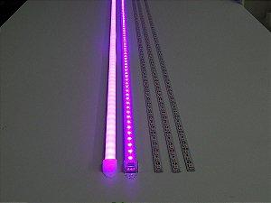 Barra de LED - 1 Metro - 18w - Rosa - 12v - 72 LEDs - Calha com Lente Leitosa
