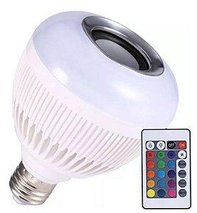 Lampada Led Rgb - Bluetooth - Caixa Som - Com Controle Remoto - Bivolt