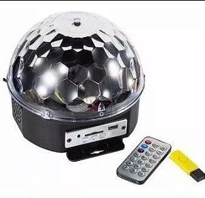 Bola Maluca LED RGB - Holográfico Magicball Light - USB - Com Controle Remoto