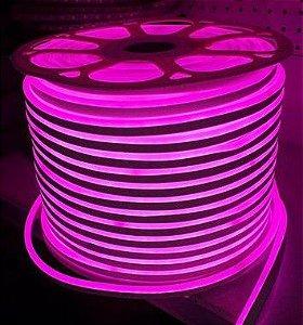 Mangueira Fita LED Neon Flexível Luz Rosa - 12w por metro - 220v -  IP65 - Metro