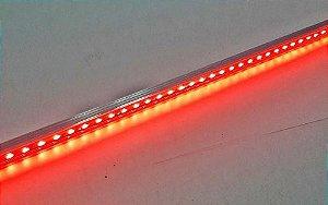 Barra de LED - 1 Metro - 18w - Vermelha - 12v - 72 LEDs - Calha com Lente Transparente