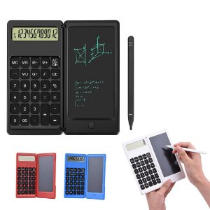 Calculadora de 12 dígitos, dobrável, com caneta para escrita a mão tipo tablet