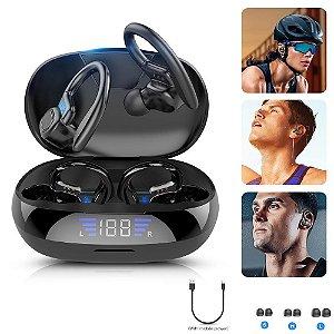 Fone Bluetooth sem fio esportivo com display led