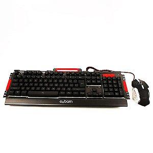 Teclado e mouse gamer, Exbom kit gamer com iluminação de led e acabamento em metal BK-G3000