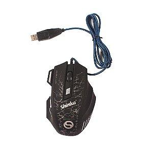 Mouse Gamer Óptico-  Shinka A7 - 3200 Dpi Com 7 Botoes E Fio Nylon De 1,5m