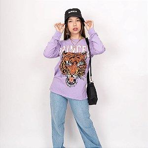Camiseta Tigre Princess Lilás Manga Longa