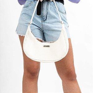 Bolsa Baguete Branca Textura Princess