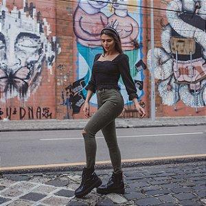 Calça Jeans Verde Elastano Rasgo Joelho Denim Zero