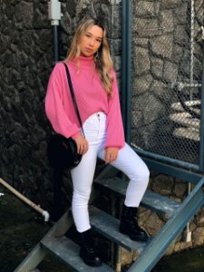 Tricô Camila Canelado Extra Largo Rosa