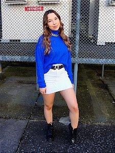 Tricô Camila Canelado Extra Largo Azul Pavão Princess