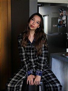 Pijama Xadrez Preto/Azul Princess
