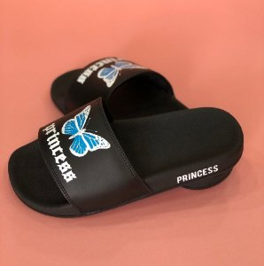 Chinelo Slide Butterfly Preto Princess