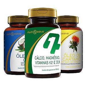 Kit Óleo de Coco, Óleo de Cártamo e Suplemento 4x1 Cálcio, K2, D3 e Magnésio Dimalato