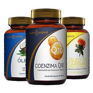 Kit Promocional Óleo de Coco, Óleo de Cártamo e Coenzima Q10 Nutriwave