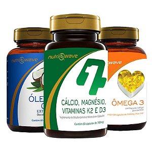 Kit Promocional Óleo de Coco, Ômega 3 e Suplemento 4x1 Cálcio, K2, D3 e Magnésio Dimalato