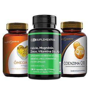 Kit Promocional Coenzima Q10, Ômega 3 e Suplemento 5x1 Cálcio, K2, D3, Magnésio e Zinco