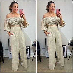 Calça Pantalona Linho