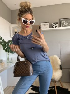 Tee blue jeans laço
