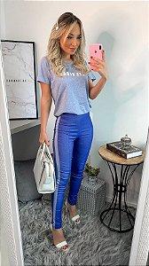 Calça fake jeans azul escura