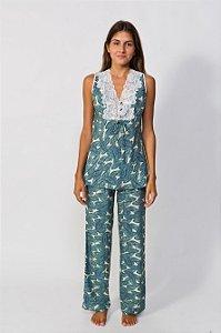 Pijama sem manga estampa folhagem - 201.9B18