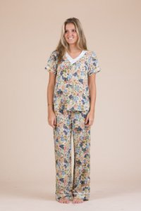 Pijama Manga Curta Floral
