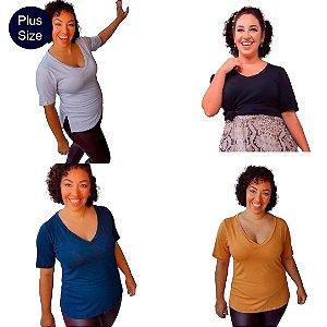 Kit 4 Blusas Básicas Lisas Plus Size decote V em malha viscose