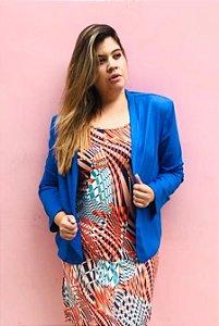 Blazer Feminino Plus Size Curto em Linho com elastano