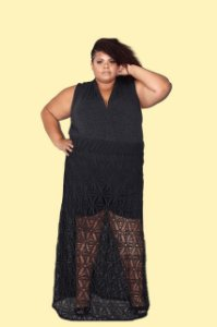 Body Plus Size Gola Xale Malha Lurex