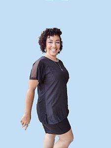 Blusa Básica com  Recortes Plus Size em Malha E Tecido