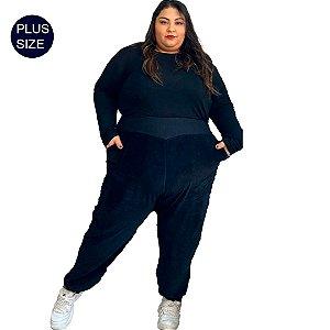 Calça Jogging Plus Size Feminina em  malha Plush de Algodão