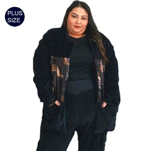 Cardigan Feminino Bicolor Plus Size em malha Plush de Algodão e detalhe metálizado