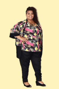 Conjunto Kimono + Regata Plus Size Malha Viscolycra