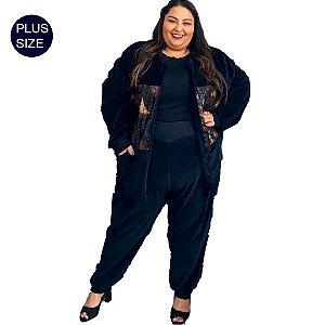 Conjunto Plus Size em Plush Cardigan + Calça Jogger