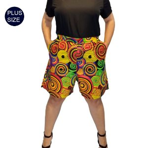 Shorts Curto Plus Size em Tecido Africano 100% Algodão Estampado Espiral