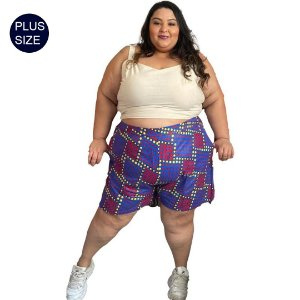 Shorts Curto Plus Size em Tecido Africano Estampado Poá Colorido