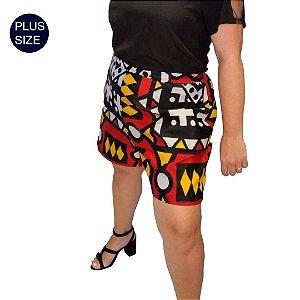 Shorts Tecido Plus Size Estampado Africano Macaca 100% Algodão