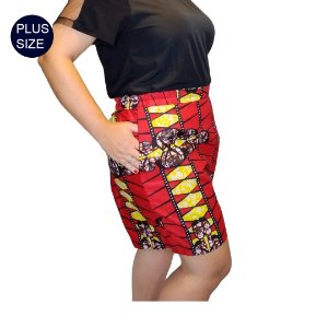 Shorts Tecido Plus Size Estampado Africano Vermeho 100% Algodão